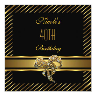 Elegant Black gold Stripe 40th Birthday Invitation