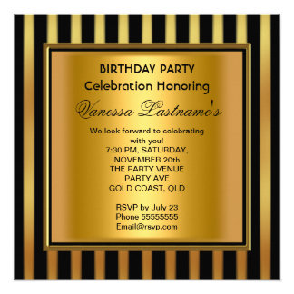 Elegant Black Gold Stripe Birthday Party Personalized Invites