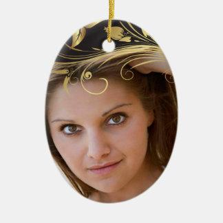 Elegant black gold swirl photo graduation ornament