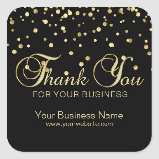 Elegant Black Gold Thank You For Your Business Square Sticker