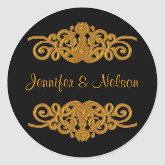 Elegant Black & Gold Tone Wedding Envelope Seal Round Sticker