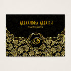 Elegant Black & Gold  Vintage Floral Damasks Business Card