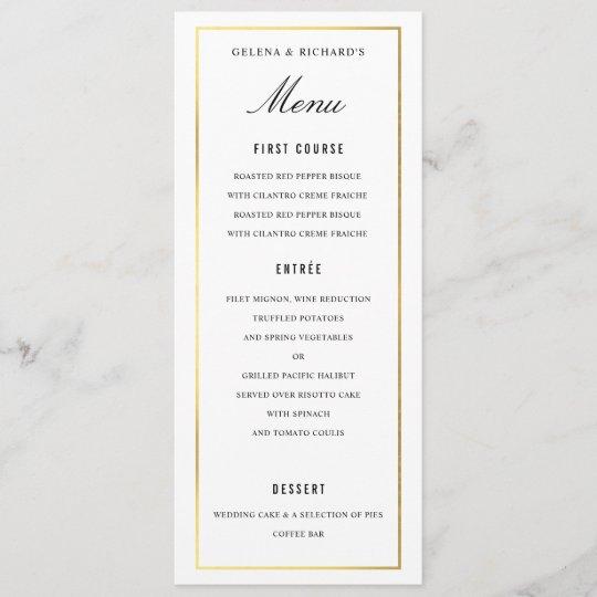 Food Menu For Wedding: Elegant Black Gold Wedding Food And Drink Menu