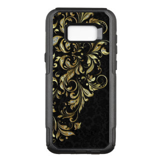 Elegant Black Gold & White Glitter Floral Lace OtterBox Commuter Samsung Galaxy S8+ Case