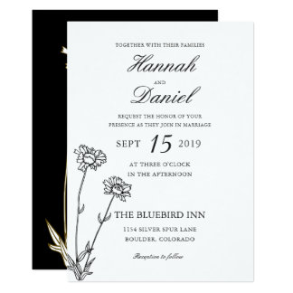 Elegant Black & Gold Wildflower Wedding Invitation