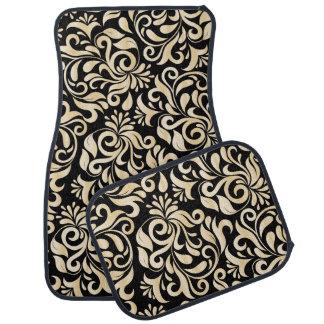 Elegant Black golden Damask floral pattern Car Mat