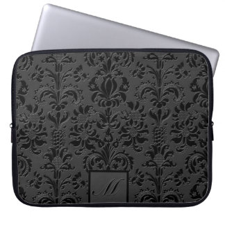 Elegant Black & Gray Monotones Floral Damasks 2 Laptop Sleeve