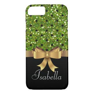 Elegant  Black green polka dots gold  bow monogram iPhone 8/7 Case
