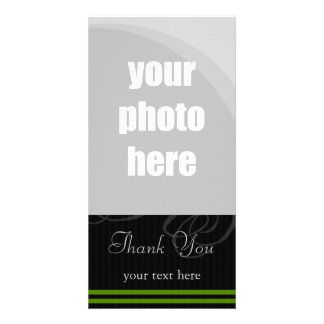 "Elegant Black/Green ""Thank You"" Personalized Photo Card"
