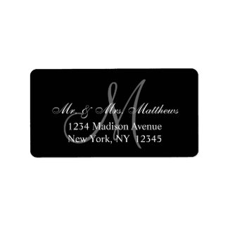 Elegant Black Grey Monogram Wedding Label