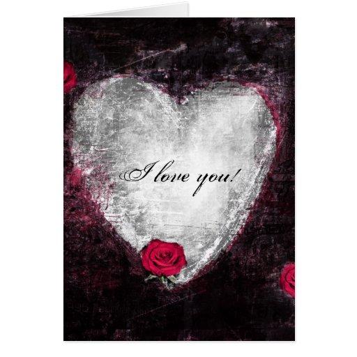 "Elegant black heart & roses ""I love you"" Cards"