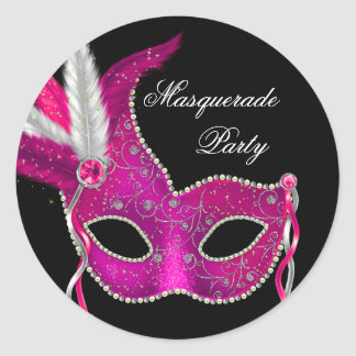 Elegant Black Hot Pink Masquerade Party Stickers