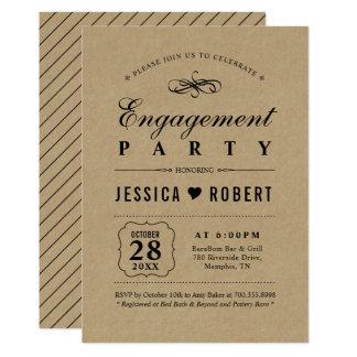 Elegant Black & Kraft Engagement Party Invitation
