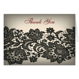 elegant black Lace beige vintage wedding thank you Card