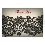 elegant black Lace beige vintage wedding thankyou Greeting Cards