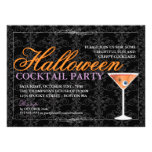 Elegant Black Lace Halloween Cocktail Party Custom Invitation