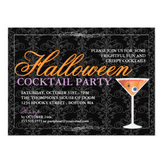 Elegant Black Lace Halloween Cocktail Party Custom Announcements