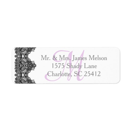 Elegant Black Lace Monogram Wedding Suite Return Address Label