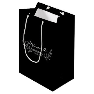 Elegant Black Laurels Personalized Bridesmaids Medium Gift Bag