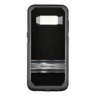 Elegant Black Leather and Silver Metal Label Look OtterBox Commuter Samsung Galaxy S8 Case