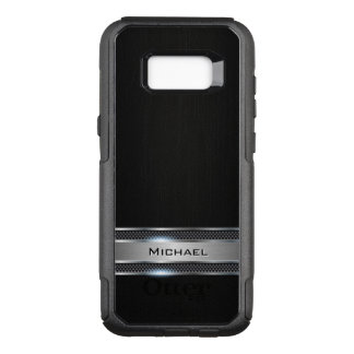 Elegant Black Leather and Silver Metal Label Look OtterBox Commuter Samsung Galaxy S8+ Case