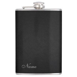 Elegant black leather look  personalised flasks
