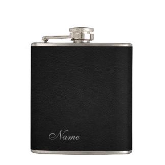 Elegant black leather look  personalised hip flask