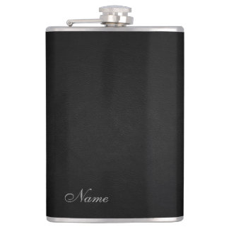 Elegant black leather look  personalized flasks