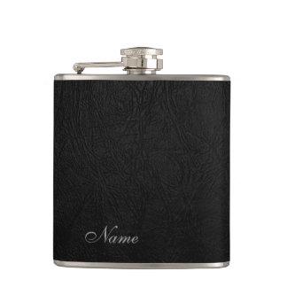 Elegant black leather look  personalized hip flask