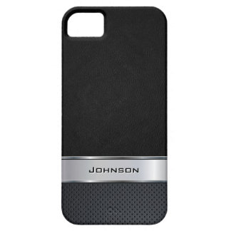 Elegant Black Leather Look with Silver Metal Label iPhone 5 Cover