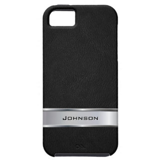 Elegant Black Leather with Silver Metal Label | iPhone 5 Cases