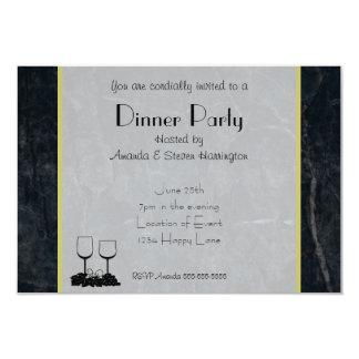 Elegant Black Marble Dinner Party 9 Cm X 13 Cm Invitation Card