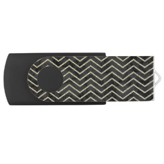 Elegant Black Marble with Gold Chevron USB Flash Drive