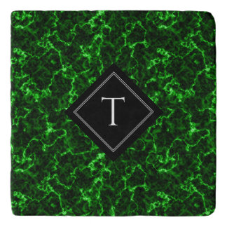 Elegant Black Marble with Green Veins Monogram Trivet