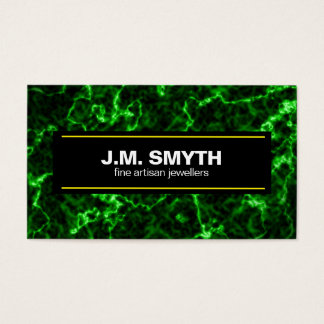 Elegant Black Marble with Phosphorus Green Veins Business Card