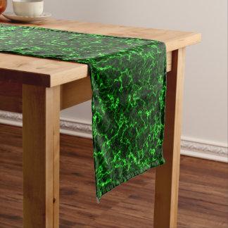 Elegant Black Marble with Phosphorus Green Veins Long Table Runner