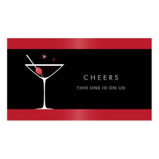Elegant black martini cocktail glass drink voucher business card templates