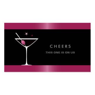 Elegant black martini cocktail glass drink voucher business card template