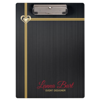 Elegant Black Metal Background Gold Stripes Clipboard