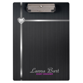 Elegant Black Metal Background Silver Stripes Clipboard