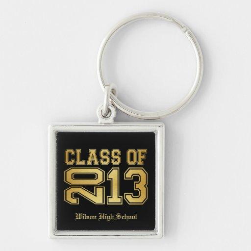 Elegant Black & Metallic Gold Class of 2013 Keychain