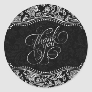 Elegant Black & Metallic Silver Damasks Thank You Classic Round Sticker