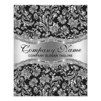 Elegant Black & Metallic Silver Floral Damasks 11.5 Cm X 14 Cm Flyer