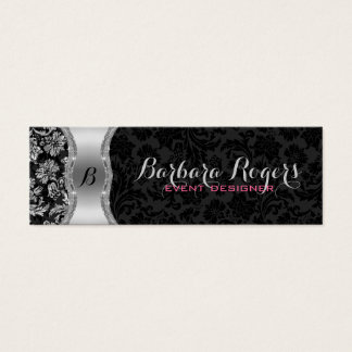Elegant Black & Metallic Silver Vintage Damasks 2 Mini Business Card