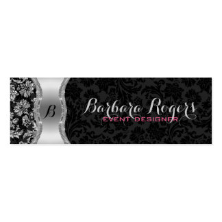 Elegant Black & Metallic Silver Vintage Damasks 2 Pack Of Skinny Business Cards