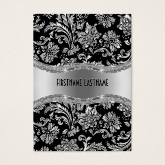Elegant Black & Metallic Silver Vintage Damasks Business Card
