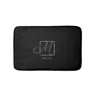 Elegant Black Monogram Design Bath Mat