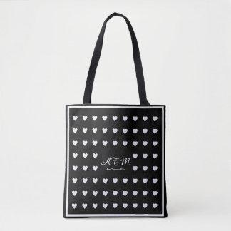 elegant black monogram tote bag with hearts