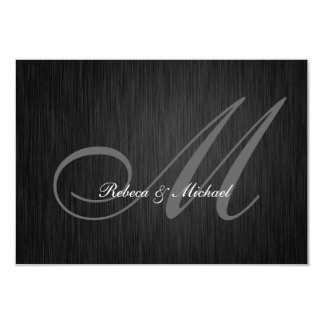 Elegant Black Monogram Wedding RSVP Card 9 Cm X 13 Cm Invitation Card