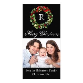Elegant Black Monogram Wreath Christmas Customized Photo Card